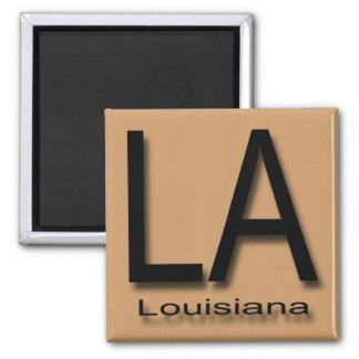 LA Louisiana  black 2 Inch Square Magnet