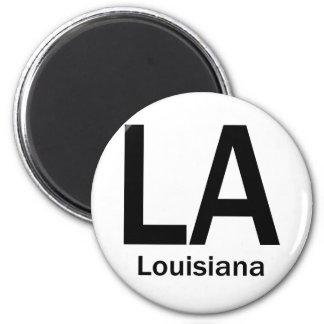 LA Louisiana  plain black 2 Inch Round Magnet