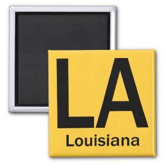 LA Louisiana  plain black 2 Inch Square Magnet