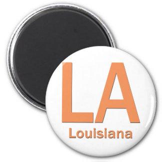 LA Louisiana  plain orange 2 Inch Round Magnet