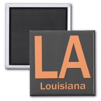LA Louisiana  plain orange 2 Inch Square Magnet