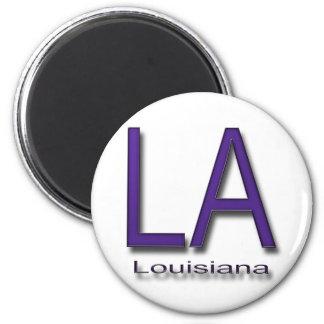LA Louisiana  purple 2 Inch Round Magnet