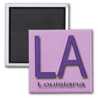 LA Louisiana  purple 2 Inch Square Magnet