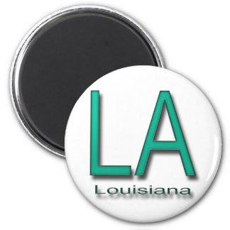 LA Louisiana  teal 2 Inch Round Magnet