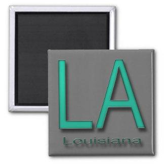 LA Louisiana  teal 2 Inch Square Magnet