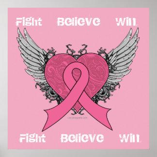 La lucha cree el triunfo - poster del cáncer de