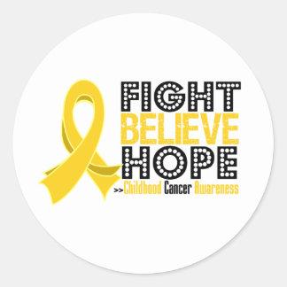 La lucha cree la esperanza - cáncer de la niñez pegatina redonda