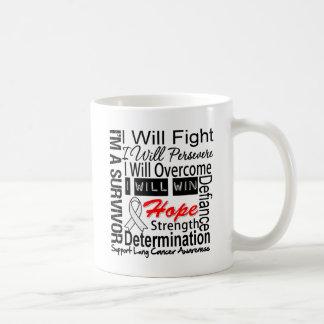 La lucha del cáncer de pulmón persevera triunfo su tazas de café