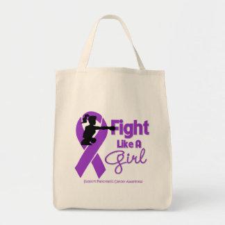 La lucha del cáncer pancreático como un chica bolsa de mano