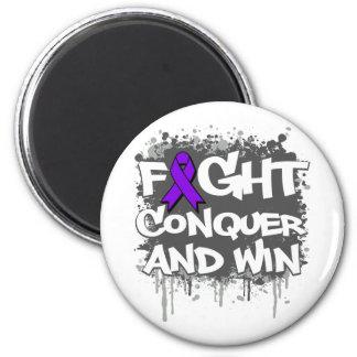 La lucha del lupus conquista y gana imán redondo 5 cm
