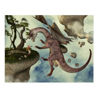 La lucha, el dragón y el combatiente del dragón tarjeta postal