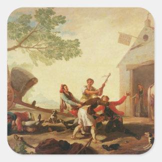 La lucha en el Venta Nueva, 1777 Pegatina Cuadrada