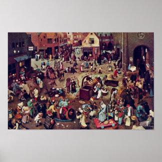 La lucha entre el carnaval y prestada, por Bruegel Impresiones