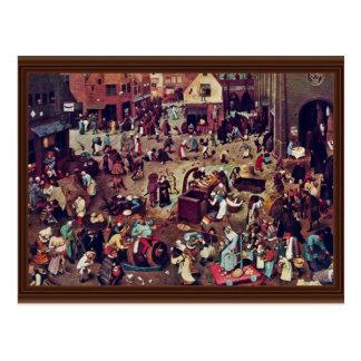 La lucha entre el carnaval y prestada por Bruegel Tarjeta Postal