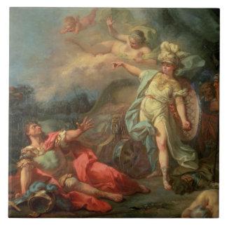 La lucha entre Marte y Minerva, 1771 (aceite en c Azulejo Cuadrado Grande