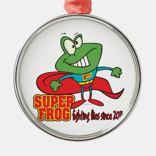 la lucha estupenda de la rana vuela desde 2011 adorno navideño redondo de metal