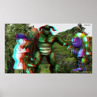 la lucha Hollywood del duende 3D viaja EN 3D Posters