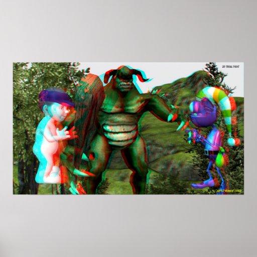 la lucha Hollywood del duende 3D viaja EN 3D Póster