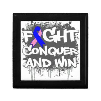 La lucha masculina del cáncer de pecho conquista y caja de regalo