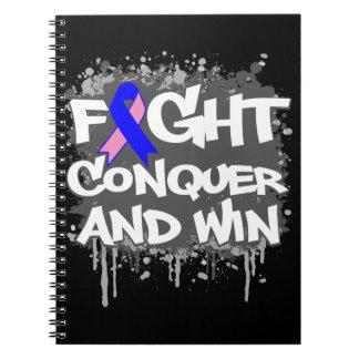 La lucha masculina del cáncer de pecho conquista y cuaderno