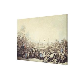 La lucha premiada, 1787 (pluma, tinta y w/c sobre  impresiones en lona
