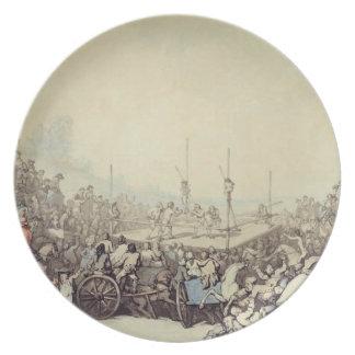La lucha premiada, 1787 (pluma, tinta y w/c sobre  plato de cena