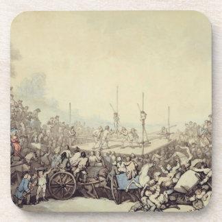 La lucha premiada, 1787 (pluma, tinta y w/c sobre  posavasos de bebidas