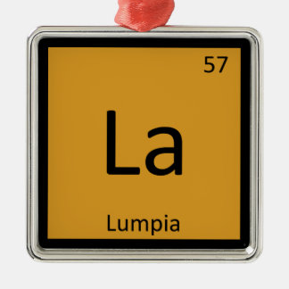 La - Lumpia Appetizer Chemistry Periodic Table Metal Ornament