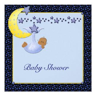 La luna amarilla azul protagoniza la ducha étnica invitacion personal