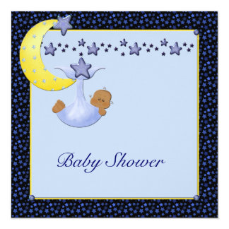 """La luna amarilla azul protagoniza la ducha étnica invitación 5.25"""" x 5.25"""""""