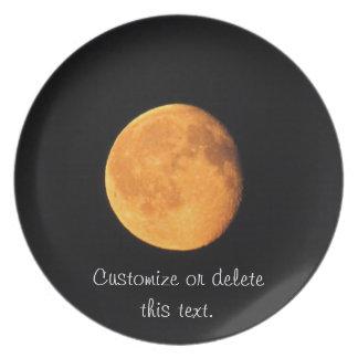 La luna amarilla grande; Personalizable Platos De Comidas