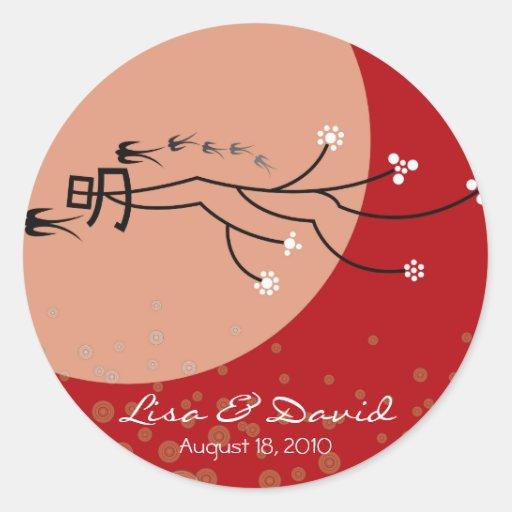 La luna brillante oriental traga arte moderno del pegatinas redondas