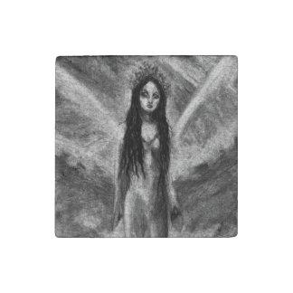 La Luna Dark Angel Fairy Original Art Stone Magnet