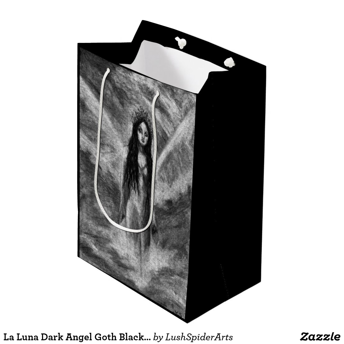 La Luna Dark Angel Goth Black & White Fantasy Art Medium Gift Bag