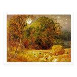 La luna de cosecha, 1833 (aceite en el papel puest postales