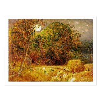 La luna de cosecha, 1833 (aceite en el papel puest tarjeta postal