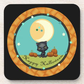 La luna del gato negro del feliz Halloween protago Posavasos