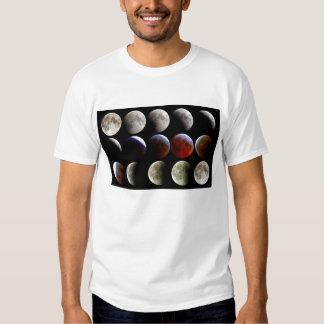 La luna durante un eclipse lunar completo camisas