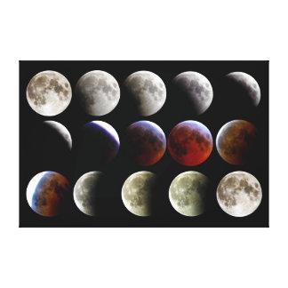 La luna durante un eclipse lunar completo impresión en lona estirada