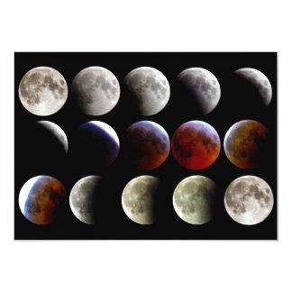 """La luna durante un eclipse lunar completo invitación 5"""" x 7"""""""