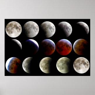 La luna durante un eclipse lunar completo póster