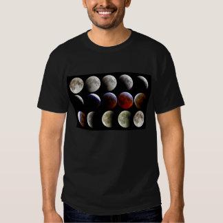 La luna durante un eclipse lunar completo remeras
