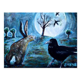 La luna, las liebres y el cuervo tarjeta postal
