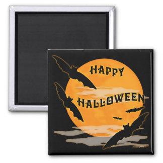 La Luna Llena golpea feliz Halloween Imán Cuadrado