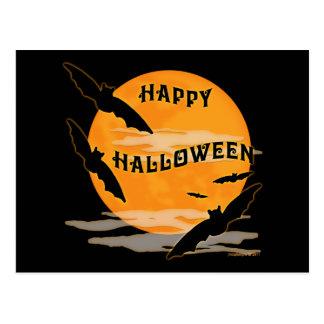 La Luna Llena golpea feliz Halloween Postal