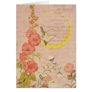 La luna rosada femenina del jardín de las flores tarjeta pequeña