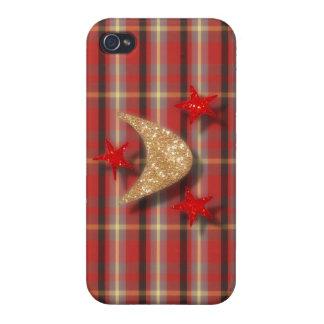 La luna y las estrellas rojas de la tela escocesa iPhone 4 carcasa