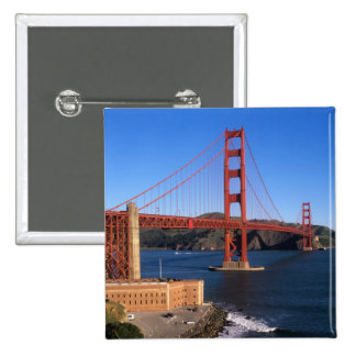 La luz de la mañana baña puente Golden Gate Pin Cuadrada 5 Cm