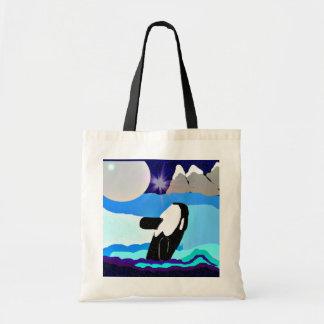La luz de la orca de la luna plateada recicla gro bolsa tela barata