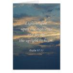 La luz del ~ del 97:11 del salmo se vierte sobre tarjeta de felicitación